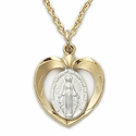 "Sterling Silver 14K Gold Finish 2-Tone Heart Shaped Miraculous Medal on 18"" Chain"