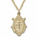 """14K Gold Filled Shield Shaped Miraculous Medal in a Satin Finish on 18"""" Chain"""