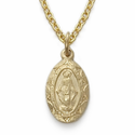 "14K Gold Filled Oval Miraculous Medal in a Satin Finish on 16"" Chain"