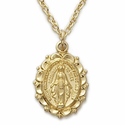 """14K Gold Over Sterling Silver  Oval Miraculous Medal with Decorative Border on 18"""" Chain"""