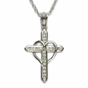 """Sterling Silver Cross Necklace with Crystal Paved Stones on 18"""" Chain"""