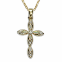 "14K Gold Over Sterling Silver Cross Necklace with Inlaid Opals and Crystal Accents on 18"" Chain"