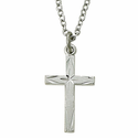 """Sterling Silver Rhodium Finish Cross Necklace in an Diamond Engraved Design on 18"""" Chain"""