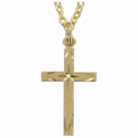 "14K Gold Over Sterling Silver  Cross Necklace in Diamond Engraved Design on 18"" Chain"