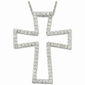 Sterling Silver Outlined  Flared Cross Necklace w/ Crystal CZ Stones