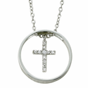 Sterling Silver Circle Dangling Cross Necklace w/ Crystal CZ Stones