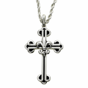 Sterling Silver Fleur De Lei Cross Necklace with Black Enamel and Budded Ends