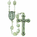 7mm Crystal Capped Rosary Necklace with Silver Plated Center and Crucifix