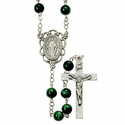 6mm Malachite Rosary Necklace with Sterling Silver Center and Crucifix Pendant