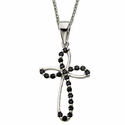"Sterling Silver Open Cross Set with Black CZ Crystal Stones on 18"" silver chain"
