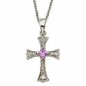 "Sterling Silver Flared CZ Crystal Cross with Amethyst Crystal Center on 18"" silver chain"