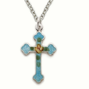 "Sterling Silver Cross Necklace in an Enameled Turquiose Design on 18""  Chain"