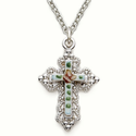 "Sterling Silver Cross Necklace in a Filigree and Enameld Inner Cross Design on 18"" Chain"