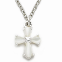 "Sterling Silver Cross Necklace in a White Pearl Design on 18"" Chain"