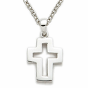 "Sterling Silver Cross Necklace in a Pierced Design on 18"" Chain"