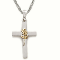 "Sterling Silver Cross Necklace in a 2-Tone Design with Centered Gold Finish Rose on 18"" Chain"