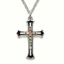 "Sterling Silver Cross Necklace in a Black Border Design w/ Enameled Rose on 18"" Chain"