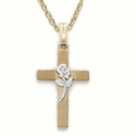 "14K Gold over Sterling Silver Cross Necklace with Silver Plated Rose on 18"" Chain"