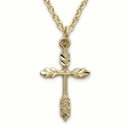 "14K Gold Over Sterling Silver Wheat Cross Necklace on 18"" Chain"