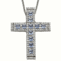 Sterling Silver Cross Necklace w/ Cubic Zirconia Sapphire & Crystal  Stones