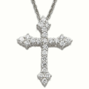 Sterling Silver Cross Necklace with Cubic Zirconium Crystal Stones