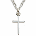"Sterling Silver Rhodium Finish Cross Necklaces in a Stick Design on 16"" Chain"