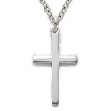 "Sterling Silver Cross Necklace in a Plain Style Design on 18"" Chain"
