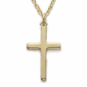 "Sterling Silver 14K Gold Finished  Cross Necklace in a Plain Style Design on 18"" Chain"