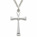 "Sterling Silver Cross Necklace in a Flair Stick Style Design on 18"" Chain"