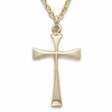 "12K Gold Filled Cross Necklace in a Flare Stick Style Design on 18"" Chain"
