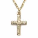 "12K Gold Filled Cross Necklace in a Centered Heart Design on 16"" Chain"