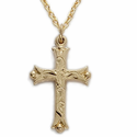 "14K Gold Filled Cross Necklace with Budded Ends in a Engraved Style Design on 18"" Chain"