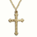 "Sterling Silver 14K Gold Finish Cross Necklace with Budded Ends in a Engraved Style Design on 18"" chain"