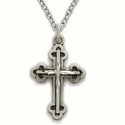 Sterling Silver Cross Necklace in Antique Finish and Budded Ends