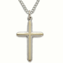 "Sterling Silver Cross Necklace in a 2-Tone Design on 18"" Chain"