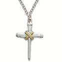 "Sterling Silver Cross Necklace in a 2-Tone and Centered Nail Rope Design on 18"" Chain"