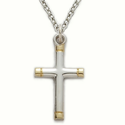 "Sterling Silver Cross Necklace in a 2-Tone and Gold Ends Design on 18"" Chain"