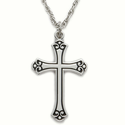 "Sterling Silver Rhodium Finish Cross Necklace in an Antiqued and Budded Ends Design on 18"" Chain"