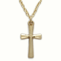 "14K Gold Over Sterling Silver Cross Necklaces in a Flared and Engraved Design on 18"" 14K Gold Plated Chain"