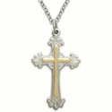"Sterling Silver Cross Necklace in a 2-Tone and Decorative Budded Ends Design on 18"" Chain"