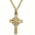 "Sterling Silver 14K Gold Finish Cross Necklace in a Filigree and Engraved Design on 18"" Chain"