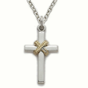 "Sterling Silver Cross Necklace in a 2-Tone and Centered Rope Design on a 18"" Chain"