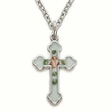 "Sterling Silver Cross Necklace in a Enameled Rose and Budded Ends Design on 18"" Chain"