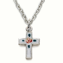 "Sterling Silver Cross Necklace in an Enameled Rose Design on 16"" Chain"