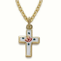 "14K Gold Filled Cross Necklace in an Enameled Rose Design on 16"" Chain"