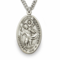"Sterling Silver Engraved Oval St. Christopher Medal on 24""Chain"