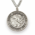 "Sterling Silver Round Engraved St. Christopher Medal on 24"" Chain"