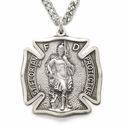 "Sterling Silver Engraved St. Florian, Patron Of Firefighters Medal On 24"" Chain"