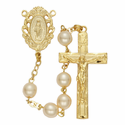 7mm Pearl Beads and Miraculous Center Rosary