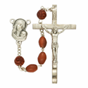 7mm Brown Coco Beads and Madonna with Baby Center Rosary